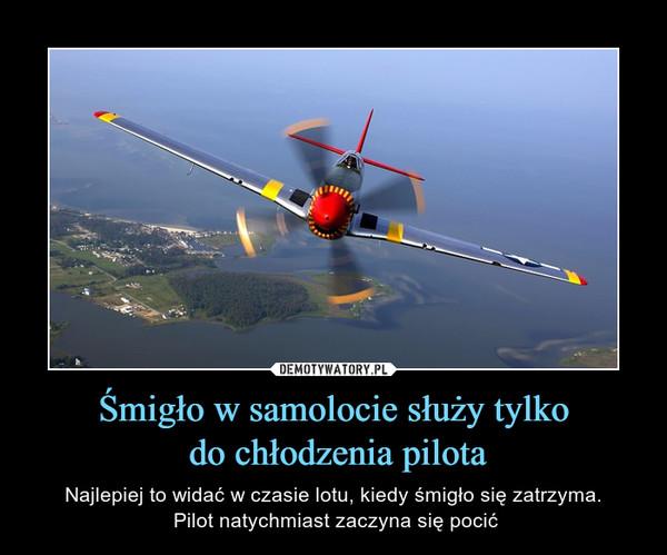 Śmigło w samolocie służy tylko do chłodzenia pilota – Najlepiej to widać w czasie lotu, kiedy śmigło się zatrzyma. Pilot natychmiast zaczyna się pocić