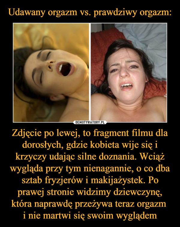 Zdjęcie po lewej, to fragment filmu dla dorosłych, gdzie kobieta wije się i krzyczy udając silne doznania. Wciąż wygląda przy tym nienagannie, o co dba sztab fryzjerów i makijażystek. Po prawej stronie widzimy dziewczynę, która naprawdę przeżywa teraz orgazm i nie martwi się swoim wyglądem –