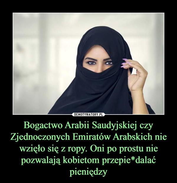 Bogactwo Arabii Saudyjskiej czy Zjednoczonych Emiratów Arabskich nie wzięło się z ropy. Oni po prostu nie pozwalają kobietom przepie*dalać pieniędzy –