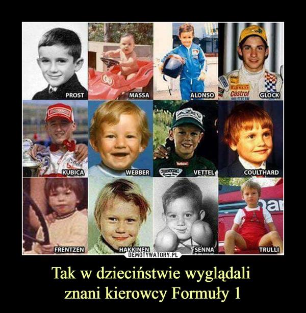 Tak w dzieciństwie wyglądali znani kierowcy Formuły 1 –  Prost Massa Aloso Glock Kubica Webber Vettel Coulthard Frentzen Hakkinen Senna Trulli