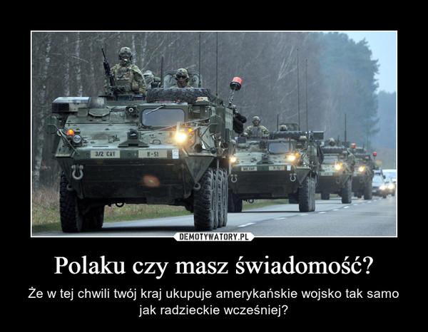 Polaku czy masz świadomość? – Że w tej chwili twój kraj ukupuje amerykańskie wojsko tak samo jak radzieckie wcześniej?