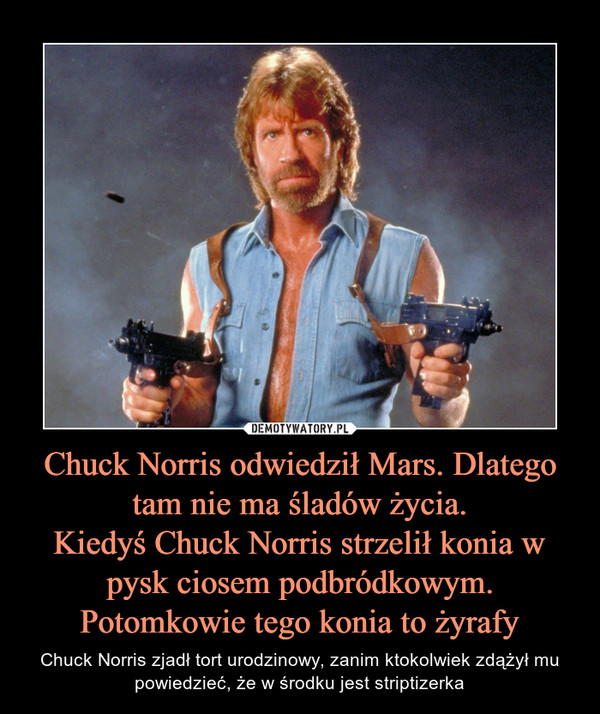 Chuck Norris odwiedził Mars. Dlatego tam nie ma śladów życia.Kiedyś Chuck Norris strzelił konia w pysk ciosem podbródkowym. Potomkowie tego konia to żyrafy – Chuck Norris zjadł tort urodzinowy, zanim ktokolwiek zdążył mu powiedzieć, że w środku jest striptizerka