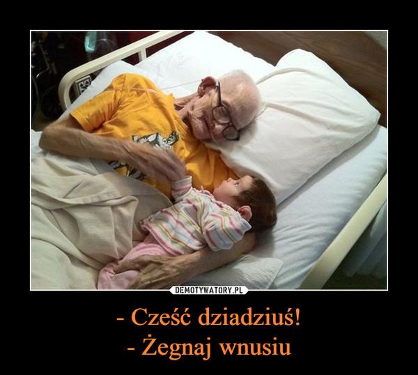 - Cześć dziadziuś!- Żegnaj wnusiu –