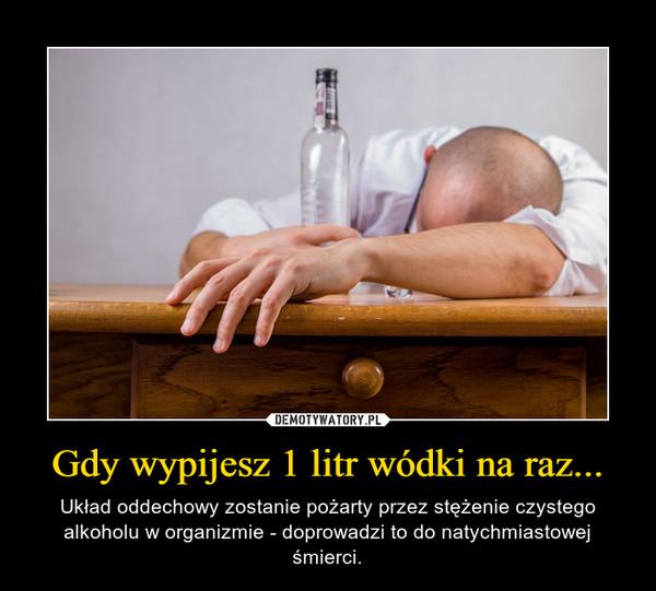Gdy wypijesz 1 litr wódki na raz... – Układ oddechowy zostanie pożarty przez stężenie czystego alkoholu w organizmie - doprowadzi to do natychmiastowej śmierci.