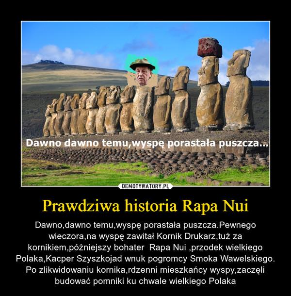 Prawdziwa historia Rapa Nui – Dawno,dawno temu,wyspę porastała puszcza.Pewnego wieczora,na wyspę zawitał Kornik Drukarz,tuż za kornikiem,póżniejszy bohater  Rapa Nui ,przodek wielkiego Polaka,Kacper Szyszkojad wnuk pogromcy Smoka Wawelskiego.Po zlikwidowaniu kornika,rdzenni mieszkańcy wyspy,zaczęli budować pomniki ku chwale wielkiego Polaka