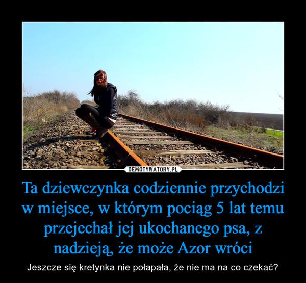 Ta dziewczynka codziennie przychodzi w miejsce, w którym pociąg 5 lat temu przejechał jej ukochanego psa, z nadzieją, że może Azor wróci – Jeszcze się kretynka nie połapała, że nie ma na co czekać?