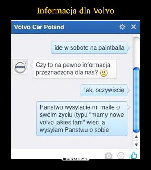Informacja dla Volvo