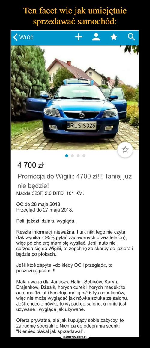 Ten facet wie jak umiejętnie sprzedawać samochód: