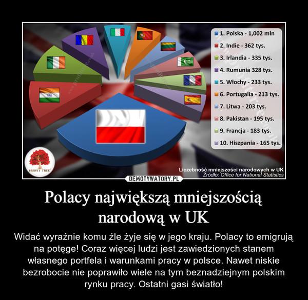 Polacy największą mniejszością narodową w UK – Widać wyraźnie komu źle żyje się w jego kraju. Polacy to emigrują na potęge! Coraz więcej ludzi jest zawiedzionych stanem własnego portfela i warunkami pracy w polsce. Nawet niskie bezrobocie nie poprawiło wiele na tym beznadziejnym polskim rynku pracy. Ostatni gasi światło!