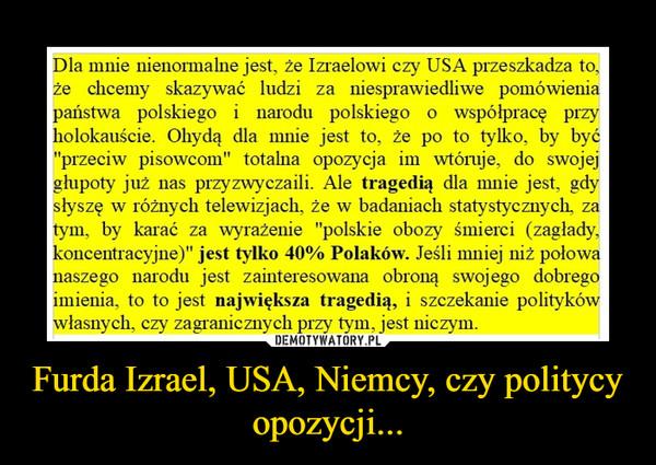 Furda Izrael, USA, Niemcy, czy politycy opozycji... –