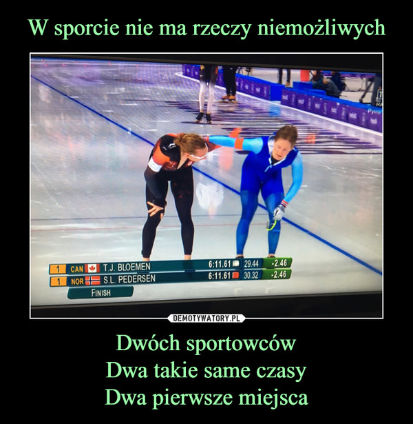 Dwóch sportowcówDwa takie same czasyDwa pierwsze miejsca –  T.J. BloemenS.L. Pedersen