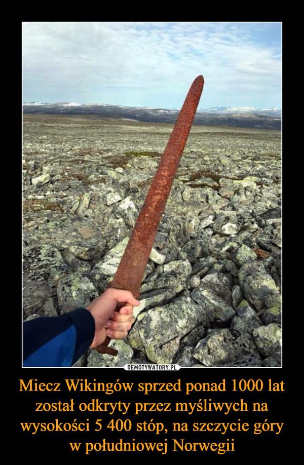 Miecz Wikingów sprzed ponad 1000 lat został odkryty przez myśliwych na wysokości 5 400 stóp, na szczycie góry w południowej Norwegii –