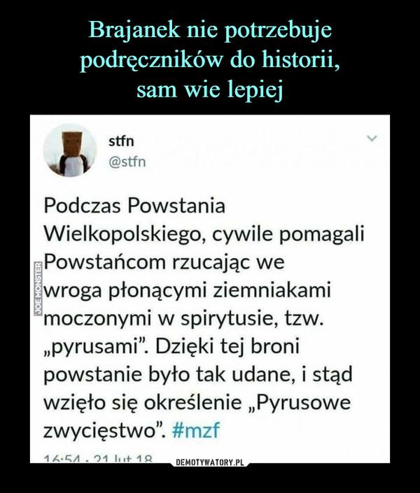 """–  Podczas Powstania Wielkopolskiego, cywile pomagali Powstańcom rzucając we wroga płonącymi ziemniakami moczonymi w spirytusie, tzw. """"pyrusami"""". Dzięki tej broni powstanie było tak udane, i stąd wzięło się określenie """"Pyrusowe zwycięstwo"""""""
