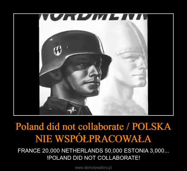 Poland did not collaborate / POLSKA NIE WSPÓŁPRACOWAŁA – FRANCE 20,000 NETHERLANDS 50,000 ESTONIA 3,000... !POLAND DID NOT COLLABORATE!