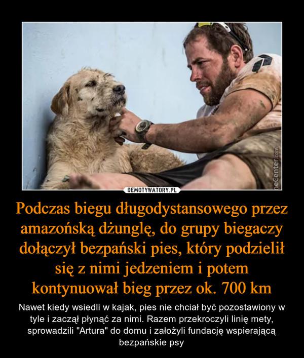 """Podczas biegu długodystansowego przez amazońską dżunglę, do grupy biegaczy dołączył bezpański pies, który podzielił się z nimi jedzeniem i potem kontynuował bieg przez ok. 700 km – Nawet kiedy wsiedli w kajak, pies nie chciał być pozostawiony w tyle i zaczął płynąć za nimi. Razem przekroczyli linię mety, sprowadzili """"Artura"""" do domu i założyli fundację wspierającą bezpańskie psy"""