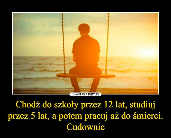 Chodź do szkoły przez 12 lat, studiuj przez 5 lat, a potem pracuj aż do śmierci. Cudownie –