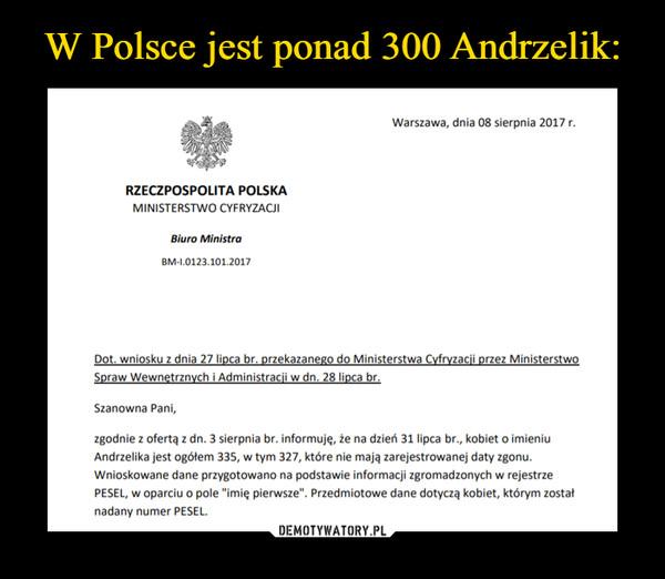 """–  Warszawa, dnia 08 sierpnia 2017 rRZECZPOSPOLITA POLSKAMINISTERSTWO CYFRYZACJIBiuro MinistraBM-1.0123.101.2017Szanowna Pani,zgodnie z ofertą z dn. 3 sierpnia br. informuję, że na dzień 31 lipca br., kobiet o imieniuAndrzelika jest ogótem 335, w tym 327, które nie mają zarejestrowanej daty zgonu.Wnioskowane dane przygotowano na podstawie informacji zgromadzonych w rejestrzePESEL, w oparciu o pole """"imię pierwsze"""". Przedmiotowe dane dotyczą kobiet, którym zostatnadany numer PESEL."""