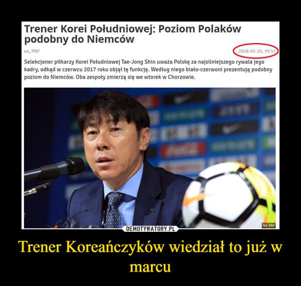 Trener Koreańczyków wiedział to już w marcu –