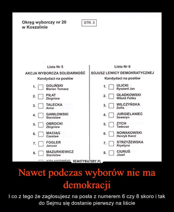 Nawet podczas wyborów nie ma demokracji – I co z tego że zagłosujesz na posła z numerem 6 czy 8 skoro i tak do Sejmu się dostanie pierwszy na liście