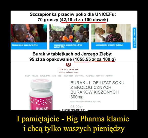 I pamiętajcie - Big Pharma kłamie i chcą tylko waszych pieniędzy –  Szczepionka przeciw polio dla UNICEFu: 70 groszy (42,18 zł za 100 dawek) ria2-Ne Burak w tabletkach od Jerzego Zięby: 95 zł za opakowanie (1055,55 zł za 100 g)