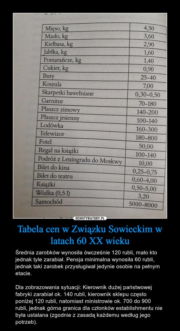 Tabela cen w Związku Sowieckim w latach 60 XX wieku – Średnia zarobków wynosiła ówcześnie 120 rubli, mało kto jednak tyle zarabiał. Pensja minimalna wynosiła 60 rubli, jednak taki zarobek przysługiwał jedynie osobie na pełnym etacie. Dla zobrazowania sytuacji: Kierownik dużej państwowej fabryki zarabiał ok. 140 rubli, kierownik sklepu często poniżej 120 rubli, natomiast ministrowie ok. 700 do 900 rubli, jednak górna granica dla członków establishmentu nie była ustalana (zgodnie z zasadą każdemu według jego potrzeb).