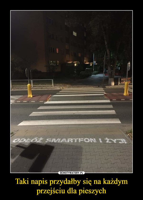 Taki napis przydałby się na każdym przejściu dla pieszych –