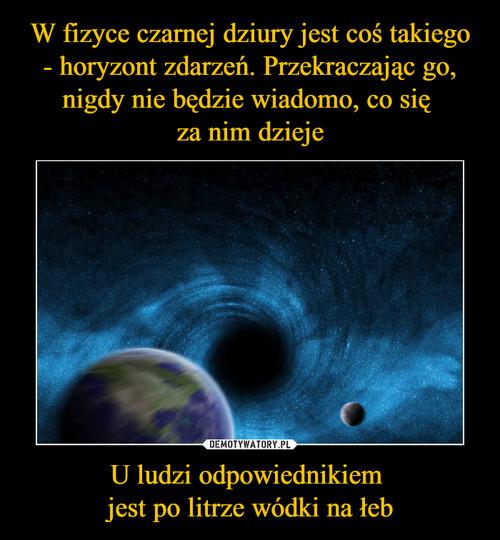 W fizyce czarnej dziury jest coś takiego - horyzont zdarzeń. Przekraczając go, nigdy nie będzie wiadomo, co się  za nim dzieje U ludzi odpowiednikiem  jest po litrze wódki na łeb