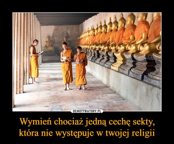 Wymień chociaż jedną cechę sekty,która nie występuje w twojej religii –