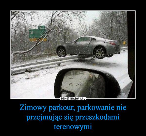 Zimowy parkour, parkowanie nie przejmując się przeszkodami terenowymi –