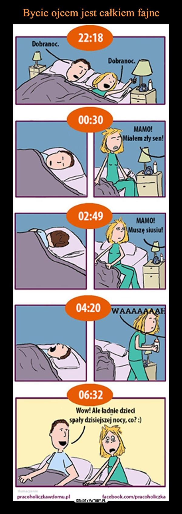 –  Dobranoc.Dobranoc.MAMO! Miałem zły sen!MAMO! Muszę siusiu!WAAAAAFWow! Ale ładnie dzieci spały dzisiejszej nocy, co? :)