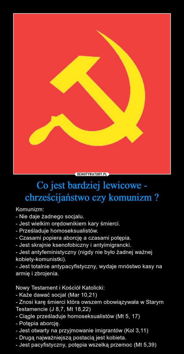 Co jest bardziej lewicowe - chrześcijaństwo czy komunizm ? – Komunizm:- Nie daje żadnego socjalu.- Jest wielkim orędownikiem kary śmierci.- Prześladuje homoseksualistów.- Czasami popiera aborcję a czasami potępia.- Jest skrajnie ksenofobiczny i antyimigrancki.- Jest antyfeministyczny (nigdy nie było żadnej ważnej kobiety-komunistki).- Jest totalnie antypacyfistyczny, wydaje mnóstwo kasy na armię i zbrojenia.Nowy Testament i Kościół Katolicki:- Każe dawać socjal (Mar 10,21)- Znosi karę śmierci która owszem obowiązywała w Starym Testamencie (J 8,7, Mt 18,22)- Ciągle prześladuje homoseksualistów (Mt 5, 17)- Potępia aborcję.- Jest otwarty na przyjmowanie imigrantów (Kol 3,11)- Drugą najważniejszą postacią jest kobieta.- Jest pacyfistyczny, potępia wszelką przemoc (Mt 5,39)