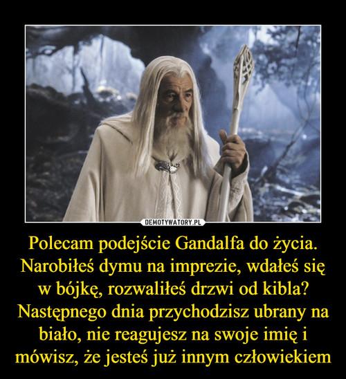 Polecam podejście Gandalfa do życia. Narobiłeś dymu na imprezie, wdałeś się w bójkę, rozwaliłeś drzwi od kibla? Następnego dnia przychodzisz ubrany na biało, nie reagujesz na swoje imię i mówisz, że jesteś już innym człowiekiem