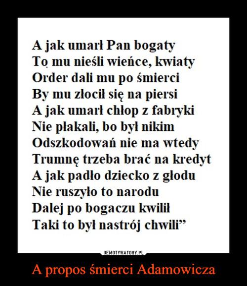 A propos śmierci Adamowicza