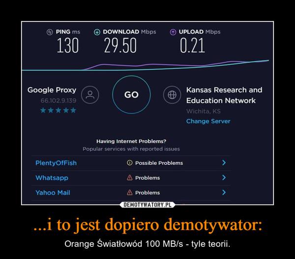 ...i to jest dopiero demotywator: – Orange Światłowód 100 MB/s - tyle teorii.