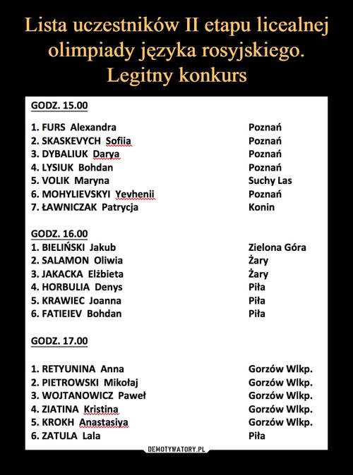 Lista uczestników II etapu licealnej olimpiady języka rosyjskiego. Legitny konkurs