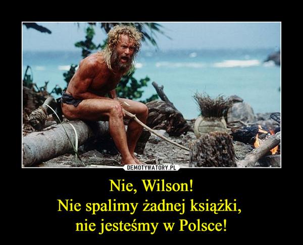 Nie, Wilson!Nie spalimy żadnej książki, nie jesteśmy w Polsce! –