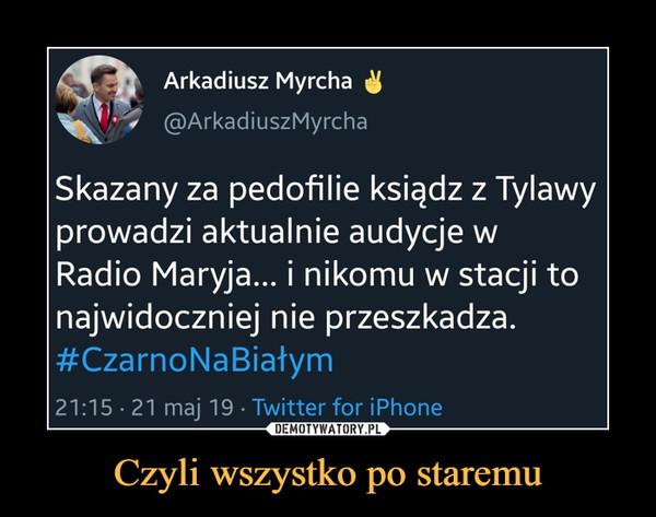 Czyli wszystko po staremu –  Arkadiusz Myrcha @ArkadiuszMyrcha Skazany za pedofilie ksiądz z Tylawy prowadzi aktualnie audycje w Radio Maryja... i nikomu w stacji to najwidoczniej nie przeszkadza. #CzarnoNaBiałym 21:15 21 maj 19 Twitter for iPhone