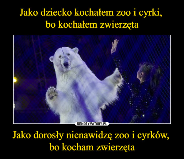 Jako dorosły nienawidzę zoo i cyrków, bo kocham zwierzęta –