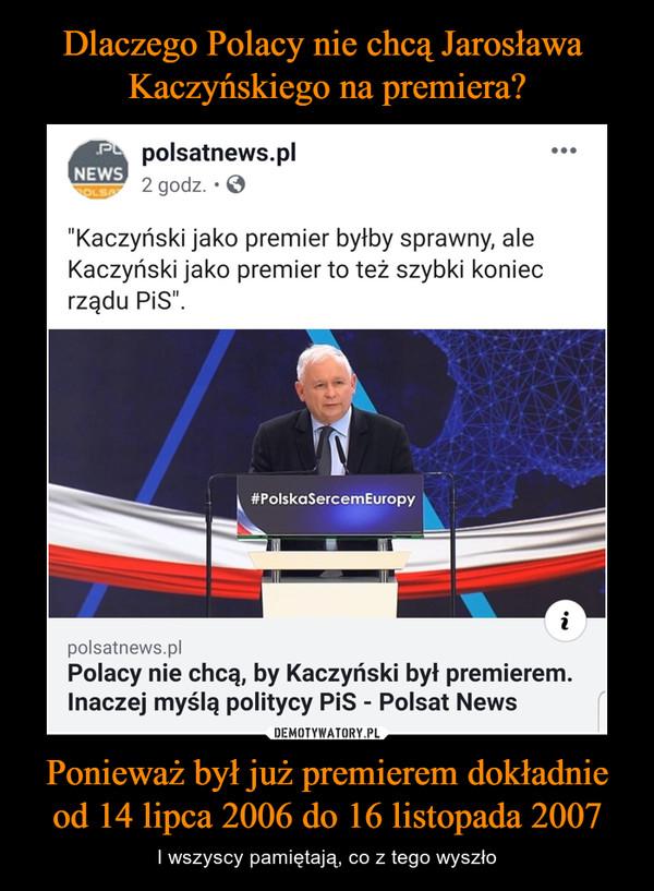 """Ponieważ był już premierem dokładnie od 14 lipca 2006 do 16 listopada 2007 – I wszyscy pamiętają, co z tego wyszło polsatnews.pl2 godz. • 0• • •""""Kaczyński jako premier byłby sprawny, aleKaczyński jako premier to też szybki koniecrządu PiS"""".polsatnews.plPolacy nie chcą, by Kaczyński był premierem.Inaczej myślą politycy PiS - Polsat News"""