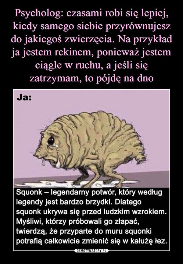 –  Ja:Squonk legendarny potwór, który wedługlegendy jest bardzo brzydki. Dlategosquonk ukrywa się przed ludzkim wzrokiem.Myśliwi, którzy próbowali go złapać,twierdzą, że przyparte do muru squon kipotrafią całkowicie zmienić się w kałużę łez.
