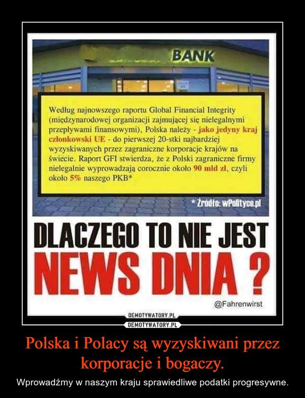 Polska i Polacy są wyzyskiwani przez korporacje i bogaczy. – Wprowadźmy w naszym kraju sprawiedliwe podatki progresywne.
