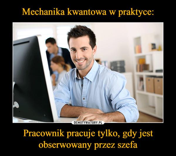 Pracownik pracuje tylko, gdy jest obserwowany przez szefa –