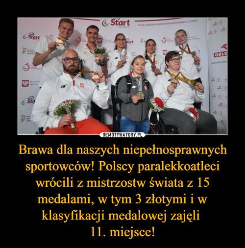 Brawa dla naszych niepełnosprawnych sportowców! Polscy paralekkoatleci wrócili z mistrzostw świata z 15 medalami, w tym 3 złotymi i w klasyfikacji medalowej zajęli  11. miejsce!