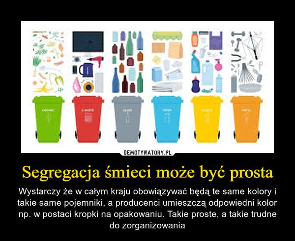 Segregacja śmieci może być prosta – Wystarczy że w całym kraju obowiązywać będą te same kolory i takie same pojemniki, a producenci umieszczą odpowiedni kolor np. w postaci kropki na opakowaniu. Takie proste, a takie trudne do zorganizowania