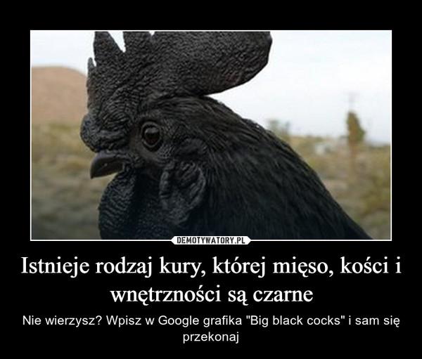"""Istnieje rodzaj kury, której mięso, kości i wnętrzności są czarne – Nie wierzysz? Wpisz w Google grafika """"Big black cocks"""" i sam się przekonaj"""