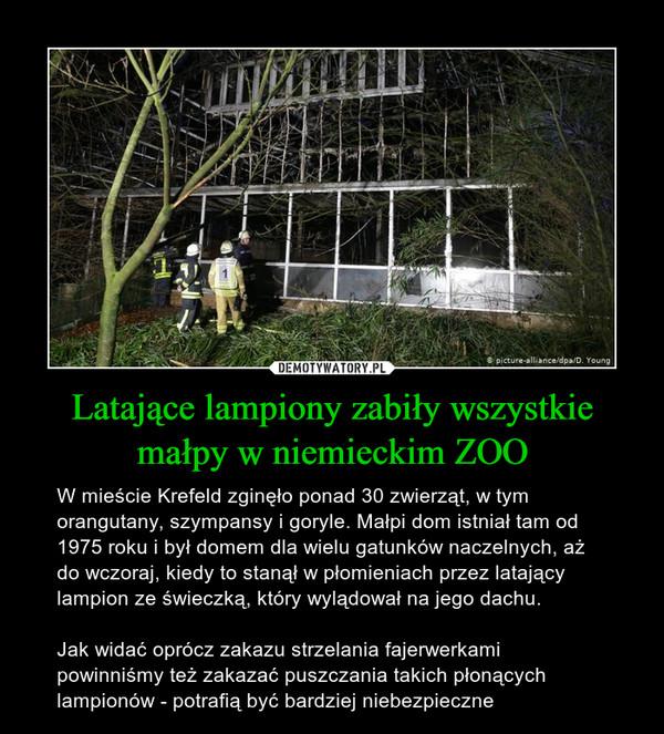 Latające lampiony zabiły wszystkie małpy w niemieckim ZOO – W mieście Krefeld zginęło ponad 30 zwierząt, w tym orangutany, szympansy i goryle. Małpi dom istniał tam od  1975 roku i był domem dla wielu gatunków naczelnych, aż do wczoraj, kiedy to stanął w płomieniach przez latający lampion ze świeczką, który wylądował na jego dachu.Jak widać oprócz zakazu strzelania fajerwerkami powinniśmy też zakazać puszczania takich płonących lampionów - potrafią być bardziej niebezpieczne