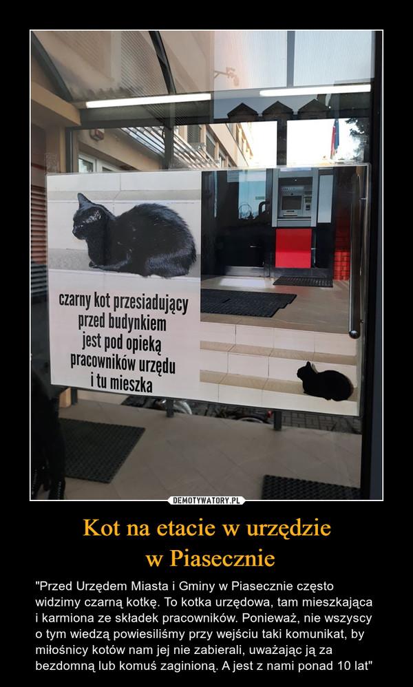 """Kot na etacie w urzędzie w Piasecznie – """"Przed Urzędem Miasta i Gminy w Piasecznie często widzimy czarną kotkę. To kotka urzędowa, tam mieszkająca i karmiona ze składek pracowników. Ponieważ, nie wszyscy o tym wiedzą powiesiliśmy przy wejściu taki komunikat, by miłośnicy kotów nam jej nie zabierali, uważając ją za bezdomną lub komuś zaginioną. A jest z nami ponad 10 lat"""""""