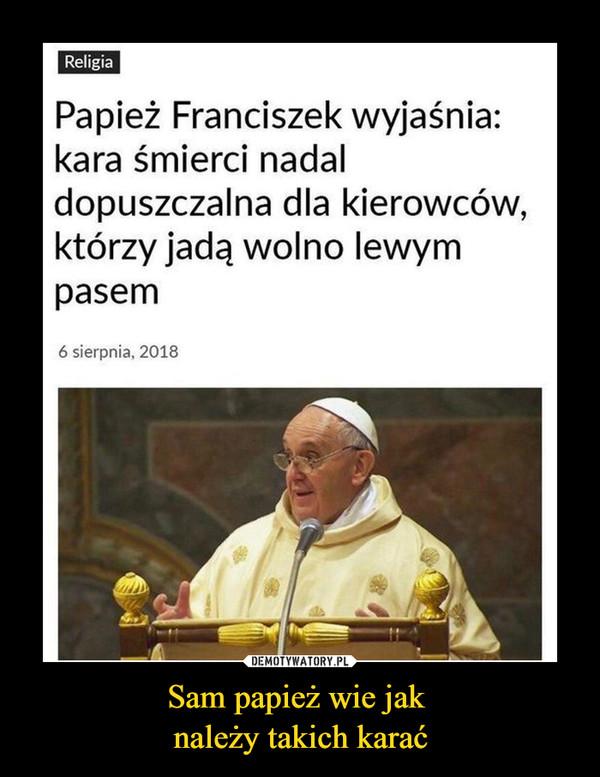 Sam papież wie jak należy takich karać –