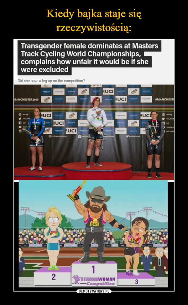 –  Transgender female dominates at Masters Track Cycling World Championships, complains how unfair it would be if she were excluded Did she have a leg up on the competition?