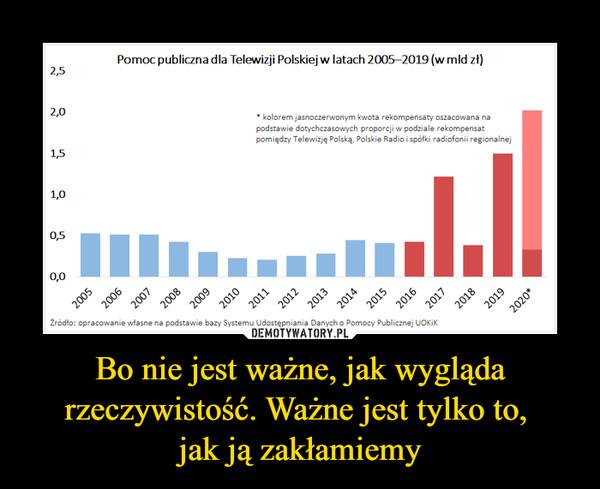 Bo nie jest ważne, jak wygląda rzeczywistość. Ważne jest tylko to, jak ją zakłamiemy –  Pomoc publiczna dla Telewizji Polskiej w latach 2005—2019 (w mld zł)* kolorem jasnoczerwonym kwota rekompensaty oszacowana napodstawie dotychczasowych proporcji w podziale rekompensatpomiędzy Telewizję Polską, Polskie Radio i spółki radiofonii regionalnej